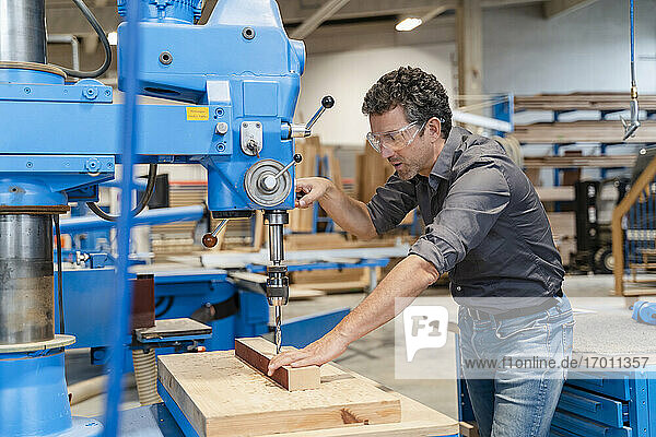 Carpenter wearing protective goggles drilling wooden plank in production hall