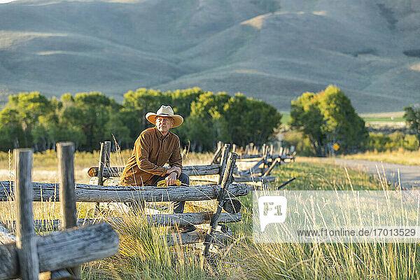 USA  Idaho  Bellevue  Rancher lehnt an Zaun auf Feld