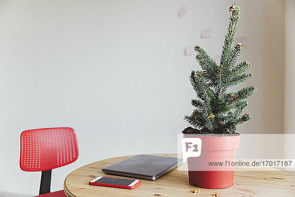 Christmas tree by laptop on table at home office