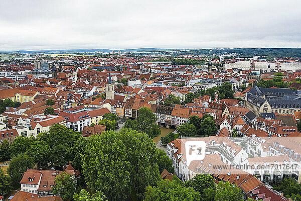 Germany  Thuringia  Erfurt  Aerial view ofKramerbrucke bridge and surrounding houses