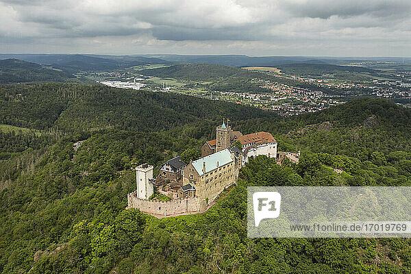 Germany  Thuringia  Eisenach  Aerial view of Wartburg castle