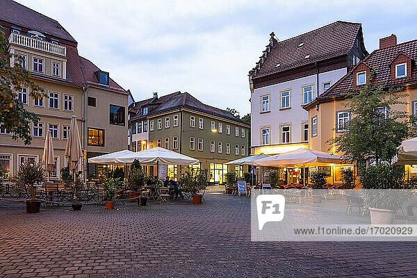 Germany  Erfurt  Wenigemarkt  old town square at dusk