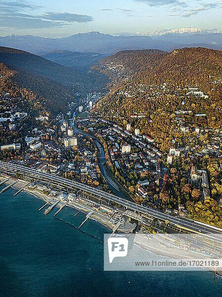 Russia  Krasnodar Krai  Sochi  Aerial view of Khosta district in autumn
