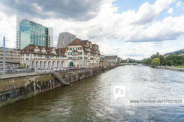 Switzerland  Zurich  Limmat river and buildings
