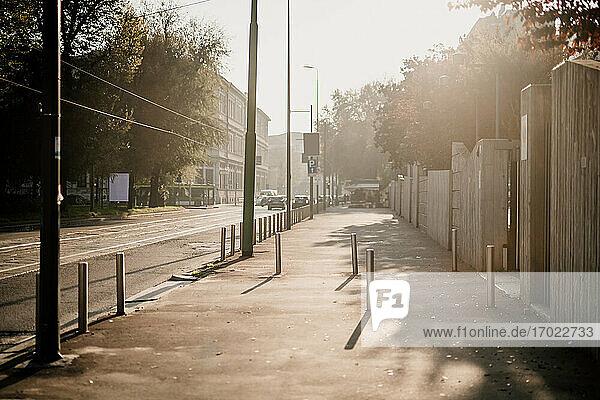 Empty sidewalk during 2020 Covid-19 Lockdown  Milan  Italy