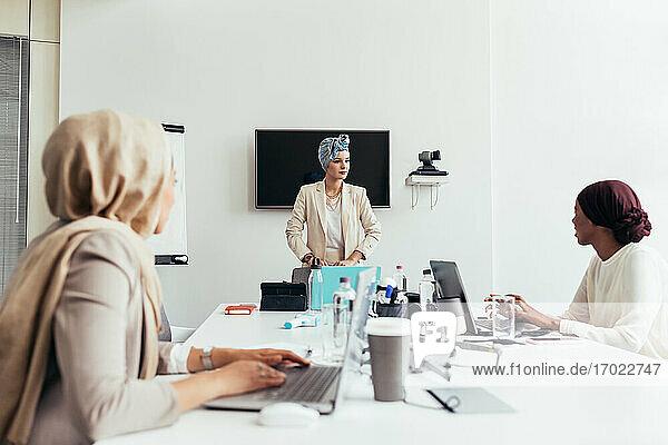 Businesswomen meeting in office