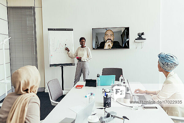 Businesswoman giving presentation to colleagues in office and over video call