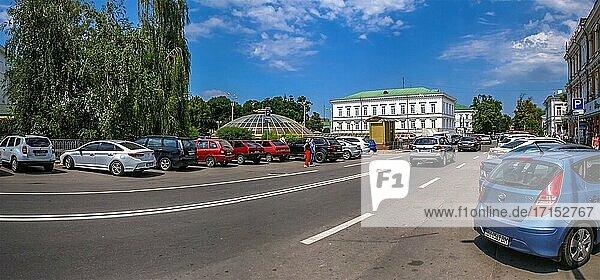 Poltava  Ukraine 07. 13. 2020. Streets of Poltava  Ukraine  on a sunny summer day.