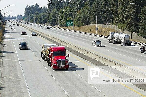 Traffic on Interstate 90 freeway in Spokane  Washington.