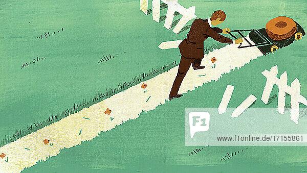 Geschäftsmann schiebt Rasenmäher durch den Zaun