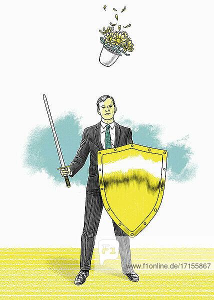 Geschäftsmann mit Schwert und Schild bemerkt den herabfallenden Pflanztopf nicht