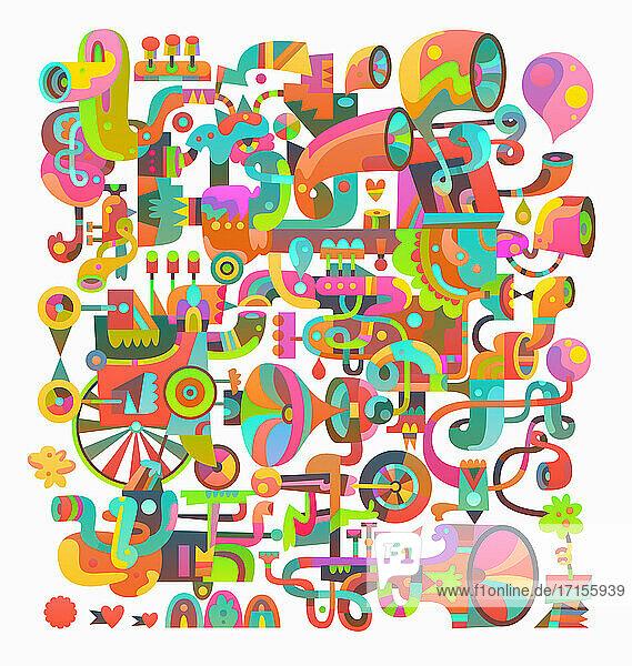 Komplexes abstraktes Muster aus Pfeifen und Blasinstrumenten