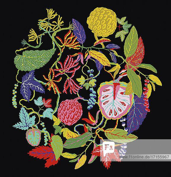 Leuchtend bunte Blätter und Fruchtmuster