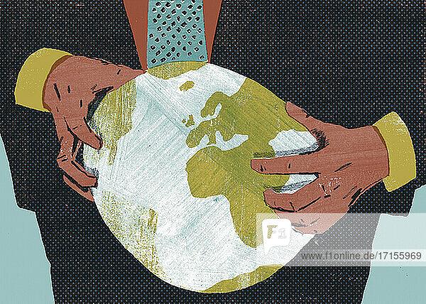 Geschäftsmann zerdrückt den Globus