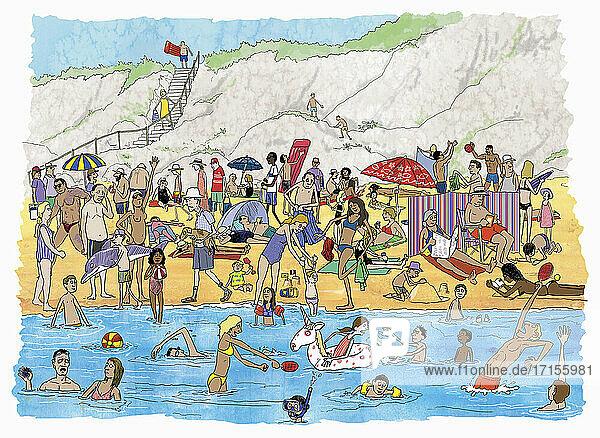 Viele Menschen am überfüllten Sommerstrand