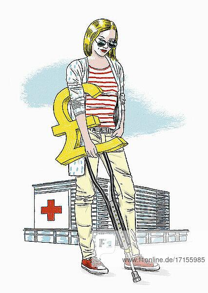 Krankenhauspatientin mit Pfundzeichenkrücke