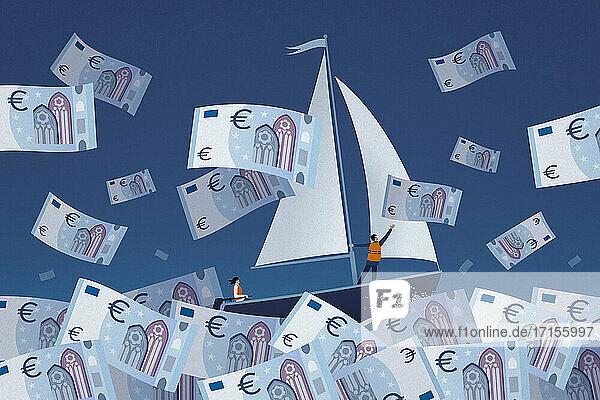 Paar segelt auf stürmischem Euro-Notenmeer