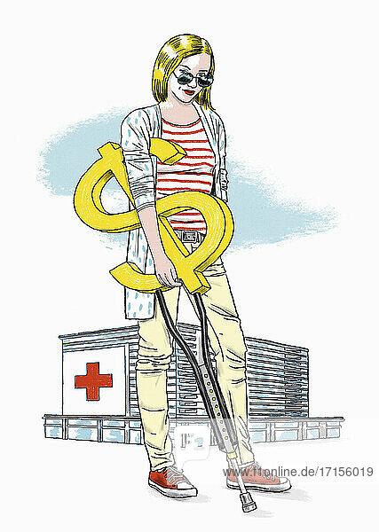 Krankenhauspatientin mit Dollarzeichen-Krücke