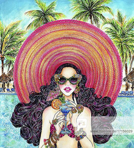 Glamouröse Frau mit riesigem Sonnenhut trinkt tropischen Cocktail