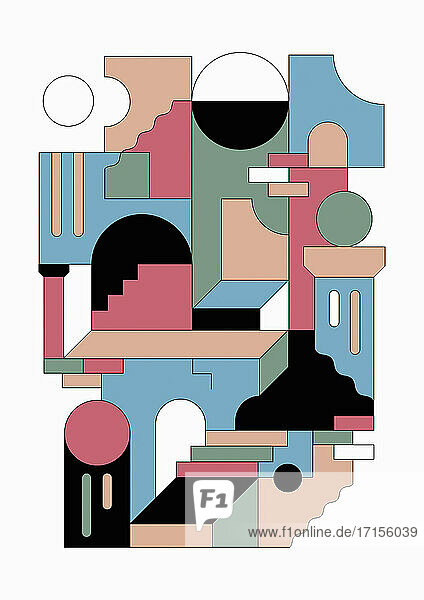Geometrische abstrakte Türen- und Treppen-Muster