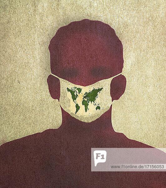 Mann mit Weltkarte auf Maske