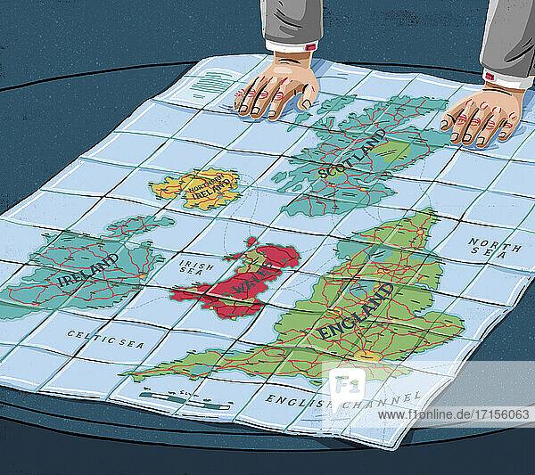 Karte der in einzelne Länder aufgeteilten Britischen Inseln