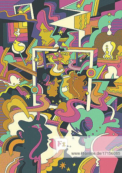 Gesichter in einem abstrakten psychedelischen Muster