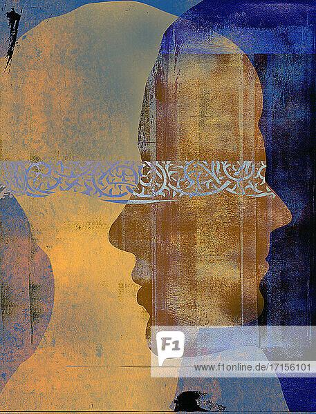 Stacheliges Muster verbindet überlappende Profile