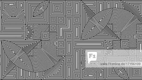 Abstraktes geometrisches schwarz-weißes Linienmuster