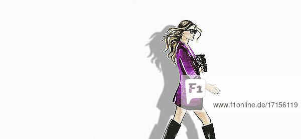 Modeillustration einer Frau mit Jacke und Stiefeln vor weißem Hintergrund
