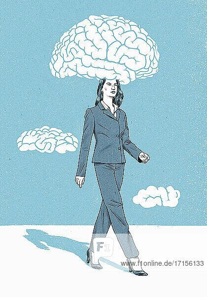 Geschäftsfrau mit Kopf in Gehirnwolke