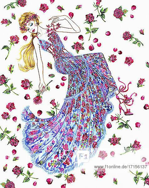 Frau in Blütenkleid liegt zwischen Rosenblättern