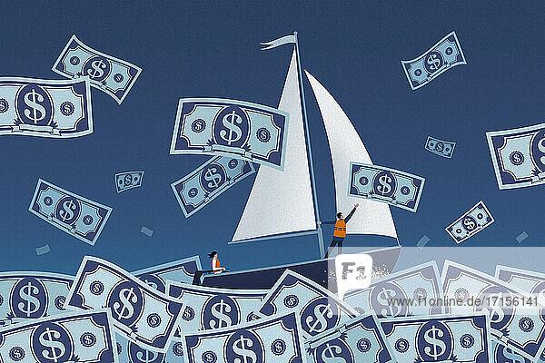 Paar segelt auf stürmischem Dollarnotenmeer