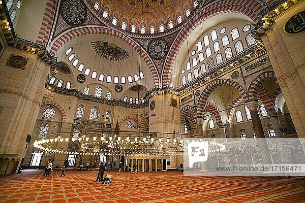 Inside Suleymaniye Mosque  Istanbul  Turkey
