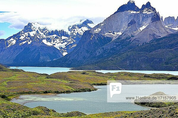 Torres del Paine National Park from Laguna Larga and Lago Nordenskjold. This mountain is a laccolith  light rock is granite and dark rock is a metamorfic rock. Provincia de Ultima Esperanza  Magallanes y Antartica Chilena.