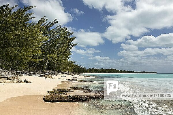 Waves  coral and beach along the shoreline in the Orange Creek area of Cat Island  Bahamas.
