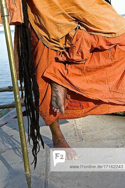 Laxmi giri sadhu woman with the trident on the ghats of benares a few days before the shivaratri. benares  UP  india.