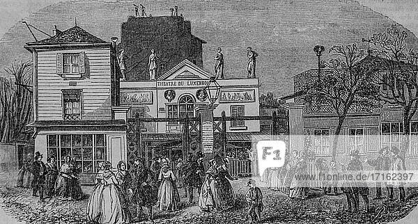 Luxembourg theater  paris painting by edmond texier  publisher paulin et le chevalier 1852.