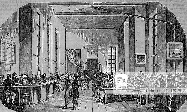 Sorting of letters from paris  paris table by edmond texier  publisher paulin et le chevalier 1852.