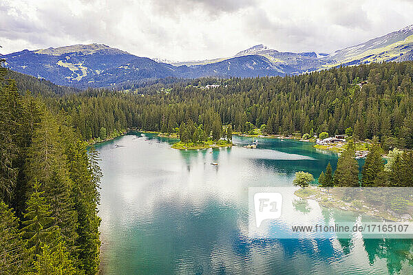 Switzerland  Graubunden  Cauma Lake  Aerial view of lake