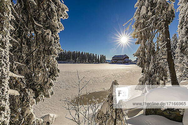 Germany  Baden Wurttemberg  Hotel in winter Black Forest