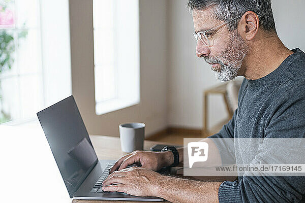 Businessman concentrating while working on laptop sitting at home office