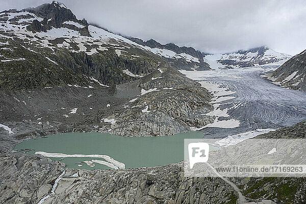 Switzerland  Valais  Rhone glacier  Aerial view of mountains and glacier