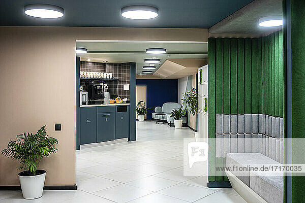 Interior of illuminated modern office
