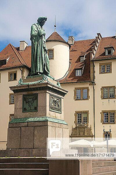 Germany  Baden-Wurttemberg  Stuttgart  Statue of Friedrich Schiller at Schillerplatz