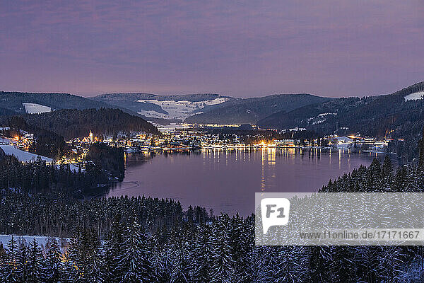Germany  Baden-Wurttemberg  Titisee lake and surrounding town at dusk