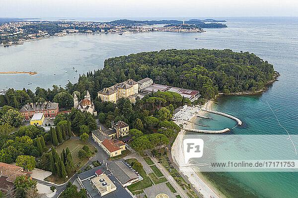 Croatia  Istria County  Rovinj  Aerial view of coastal city at early summer dusk