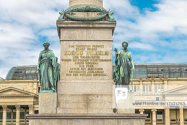 Germany  Baden-Wurttemberg  Stuttgart  Text and statues of Jubilaumssaule column