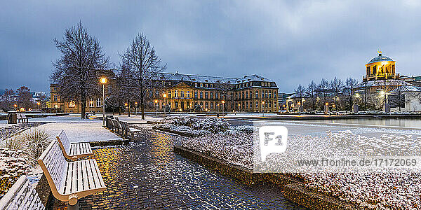 Germany  Baden-Wuerttemberg  Stuttgart  NewPalaceilluminated at dusk in Winter