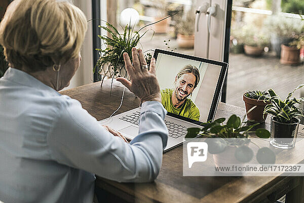 Ältere Frau winkt ihrem Enkel per Videoanruf über den Laptop im Wohnzimmer zu Ältere Frau winkt ihrem Enkel per Videoanruf über den Laptop im Wohnzimmer zu